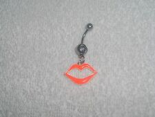 Neon Orange Hot Lips Belly Button Navel Ring Body Jewelry Piercing 14g Sale