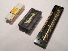 3x Gold White Ceramic CPU and CCD Chips For Your Collection IC logic gold scrap