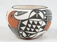 "Acoma Small Bird Pot 2.5x4"" Signed Chino Native American Pottery Hand Painted"