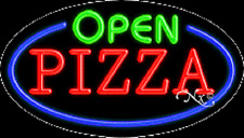 "NEW ""OPEN PIZZA"" 30x17 OVAL SOLID/FLASH REAL NEON SIGN w/CUSTOM OPTIONS 14470"