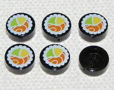 Lego New Black Tiles Round 1 x 1 with Sushi Pattern Pieces