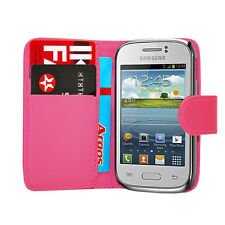 PINK WALLET Plain phone case&card slots Samsung Galaxy Young GT S-S6310L S6310N