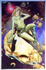 BRANDON PETERSON SPACE GIRL Signature Edition Signed Art Print / Big Wow Excl