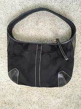 "COACH • Black Sig Jacquard/Leather HOBO Shoulder Bag PURSE Sm/Med • 11"" L • EUC!"
