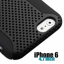 For iPhone 6 / 6S - HARD & SOFT RUBBER HYBRID FUSION SKIN CASE COVER BLACK MESH