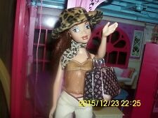 "MATTEL BARBIE MY SCENE DOLL ""CHELSEA"" PLEATHER PANTS, ANIMAL PRINT HAT/SCARF TOP"