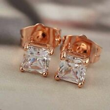 Classic 9K Rose Gold Filled Cubic Zirconia Square Stud earings