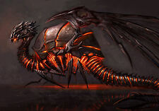 Framed Print - Fiery Beetle Dragon (Medieval Mythical Fantasy Picture Poster)