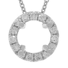 6.5-7mm Round Semi Mount Diamond Pendant 14K White Gold Halo Setting Solitaire