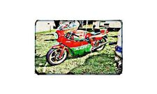 Ducati Mhr Motorbike Sign Metal Retro Aged Aluminium Bike