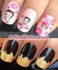 NAIL ART SET #66. BETTY BOOP KISS WATER TRANSFERS/DECALS/STICKERS & GOLD LEAF