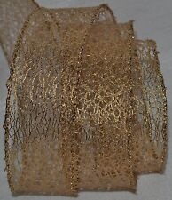 """Wired Ribbon~Christmas Metallic Gold Mesh~1.5""""~Holiday~Web~Wreath~Gift~Craft~Bow"""