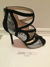 JIMMY CHOO Tempest Sequin Pump in Black and Silver size 38 or US 8  *wanted*