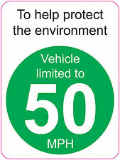 [ 120x160mm ] LIMITED TO 50 MPH | TO HELP PROTECT THE ENVIRONMENT - VAN/WAGGON