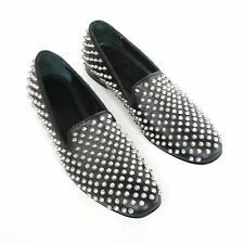 GIACOMORELLI studded spike black leather loafers spiked slip-on shoes 38/5 NEW