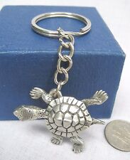 Pewter Baby Turtle Animal Charm Key Rings Key Chains Pendant Jewelry