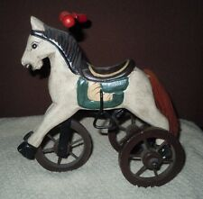 Vintage Wood Wooden Horse Tricycle Wheels Figure Hand Carved Painted Distressed