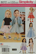 "Simplicity 8072 Sewing PATTERN for 18"" AMERICAN GIRL DOLL Clothes w/ 6 Outfits"