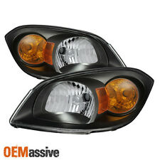 2005-2010 Chevy Cobalt 07-09 Pontiac G5 Black Headlights Left+Right Replacement