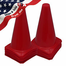 "9"" Tall RED CONES Sports Training Safety Cone Qty 12"