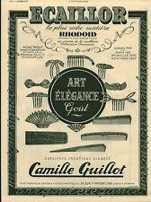 """Publicité Ancienne """" Peignes Barettes ECAILLOR Camille Guillot  1941 ( P 35 )"""