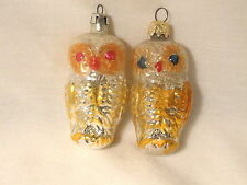 2 Glass Owl Christmas Tree Ornaments Gold Silver