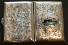 SOLID STERLING SILVER 1904 HMS TITANIC CIGARETTE CASE 53.2 GRAMS NIELLOWARE