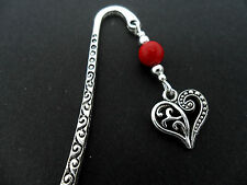 A TIBETAN SILVER  RED CORAL BEAD   & HEART CHARM BOOKMARK. NEW.