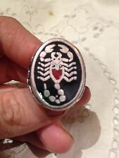 1980's Vintage Stainless Steel Size 10.5 Men's Inlay Scorpion Ring