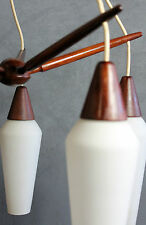 SCANDINAVIAN EUROPEAN TEAK WHITE GLASS LAMP LIGHT CEILING ( Juhl Leklint eames
