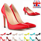 WOMENS PATENT LEATHER MID HIGH HEELS TOE CORSET COURT PUMPS PARTY SHOES SIZE 2-9