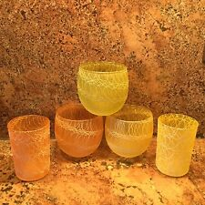 RARE!~Vintage Roly Poly Drizzle, Spaghetti, String -3 Highball & 2 Juice Glasses