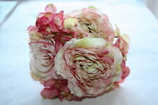 VINTAGE PINK / BLUSH  SILK ROSE & HYDRANGEA FLOWERS SMALL BOUQUET / TIED BUNCH
