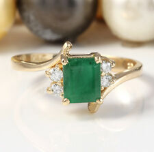 1.70CTW Natural Colombian Emerald and Diamonds in 14K Solid Yellow Gold Ring