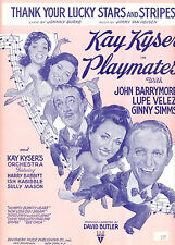 "PLAYMATES Sheet Music ""Thank Your Lucky Stars & Stripes"" Lupe Velez Ginny Simms"