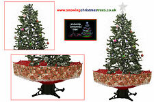 Snowing Christmas Tree 1.7 M | Red Umbrella Base | Beautiful Patterned Skirt