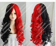 2017 Beautiful Harley Quinn wig Black and red long curly hair cosplay wig
