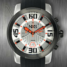 NXS Geiger Mens Swiss Chronograph Watches Stainless Steel Black Orange silver