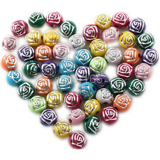 100 pcs 8MM Colorful Artful Acrylic rose flower Spacer findings Beads charms