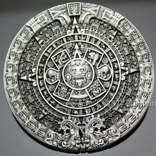 Men Antique Silver Aztec Mayan Indian Detailed Calendar Mask Western Belt Buckle