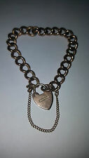 "1908 9kt 375 Rose Gold Chain Bracelet w/ Heart Padlock 6.2"" Inches"