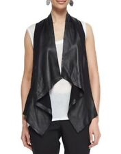MEDIUM NWT EILEEN FISHER BLACK THE FISHER PROJECT LEATHER DRAPE FRONT VEST $598