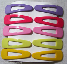 LOT de 10 BARRETTES PINCE à CHEVEUX CLIC CLAC **5 cm** COULEUR ASSORTIES ENFANT