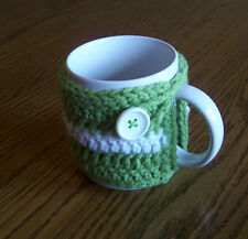 Hand Crochet Light Green and White Coffee Mug Cozy