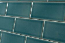 Fired Earth Retro Metro Green Park Crackled Glaze Wall Tiles 7.5x15cm