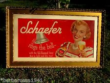 Vintage 1950's Framed Original Schaefer Beer Advertising Bar Poster Store Sign