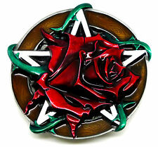 Red Rose & Pentagram Belt Buckle Flower Gothic Women`s Authentic Dragon Designs