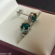 Y90 Plum UK silver / white gold gf stud earrings, jade green 6mm cz gems BOXED