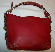 Coach Carly Red Leather Satchel Hobo Handbag Shoulder Bag Purse #10615
