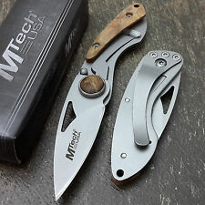 "MTECH USA Folding Knives Maple Burl Wood POCKET Frame Lock 5"" Pen Knife Keychain"